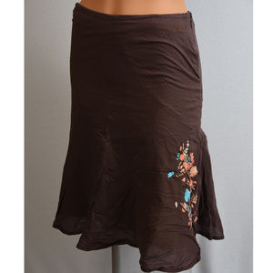 O'Neill brown skirt 100% cotton flower embroidery